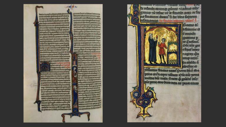 Слева: Карманная Библия. Около 1250 г. Национальная библиотека, Париж. Справа: Винцент из Бове. Зерцало природы. Около 1270 г. Муниципальная библиотека, Лан
