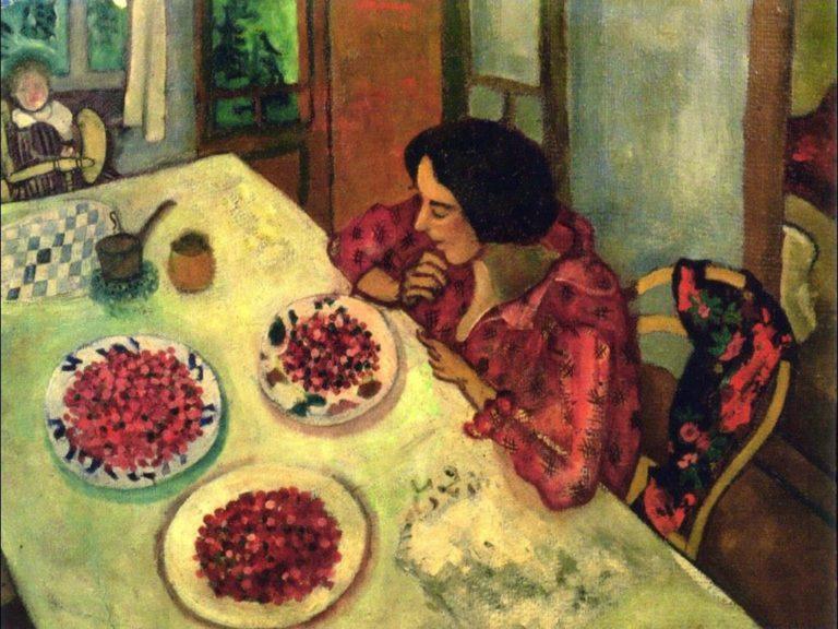 Клубника. Белла и Ида за столом. 1916