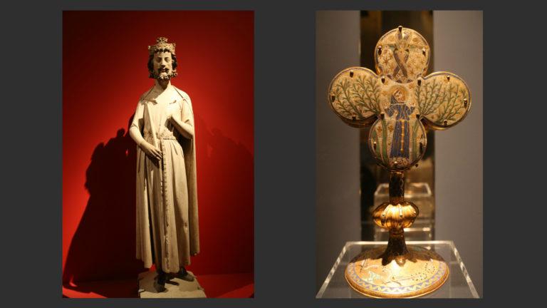 Слева: «Король Хильдеберт». 1239–1240. Лувр, Париж. Справа: Реликварий с изображением стигматизации св. Франциска. Лимож, XIII в. Лувр, Париж
