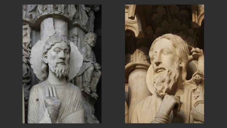 Фигуры Королевского портала (1150-е) и портала Иова (ок. 1210)