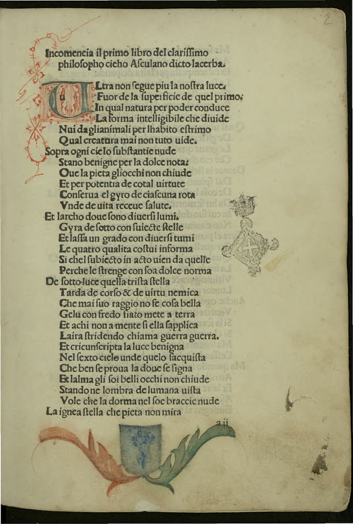 Лист из книги Чекко д'Асколи L'Acerba. 1484