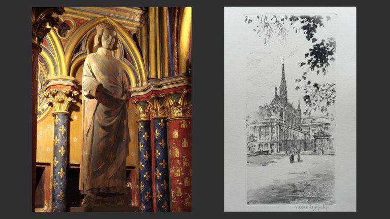 Слева: Людовик IX Святой (1214–1270). Нач. XIV в. Сент-Шапель. Справа: Сент-Шапель. 1240-е. Париж