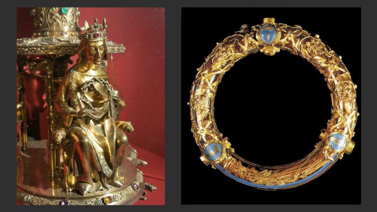 Слева: Людовик Святой с терновым венцом. Справа: Реликварий Тернового венца. 2-я пол. XIX в. Нотр-Дам, Париж