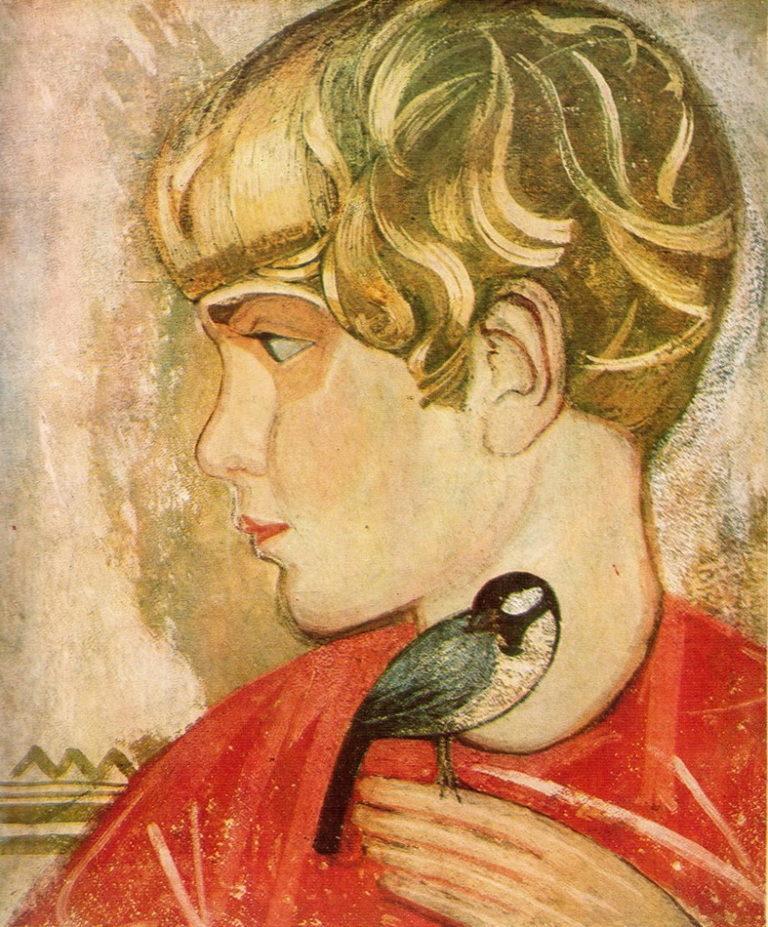 Мальчик с птицей. Роман Кричевский, сын художника. 1924