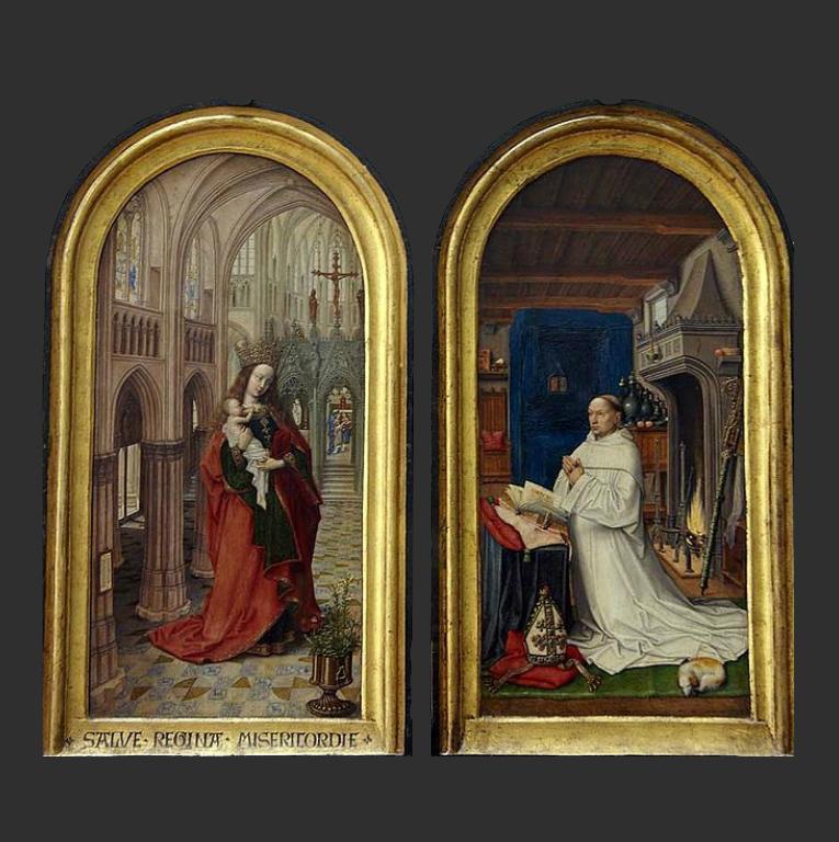 Мария в храме (копия). Портрет аббата Кристиана де Хондта. 1499