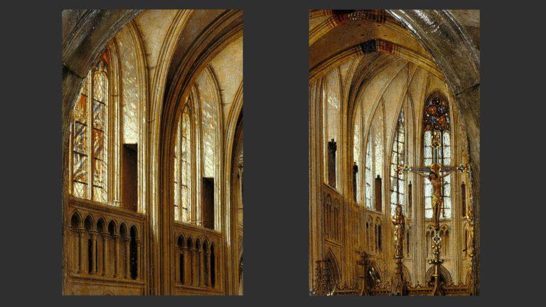 Мария в храме. Детали с изображениями архитектуры. 1438–1440