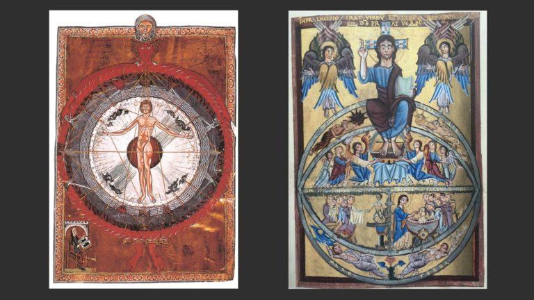 Слева: Микрокосмос. Ок. 1230. «Книга видений» Хильдегарды Бингенской. Справа: Миниатюра Евангелиария. 2-я четверть XI в. Государственная библиотека Бамберга