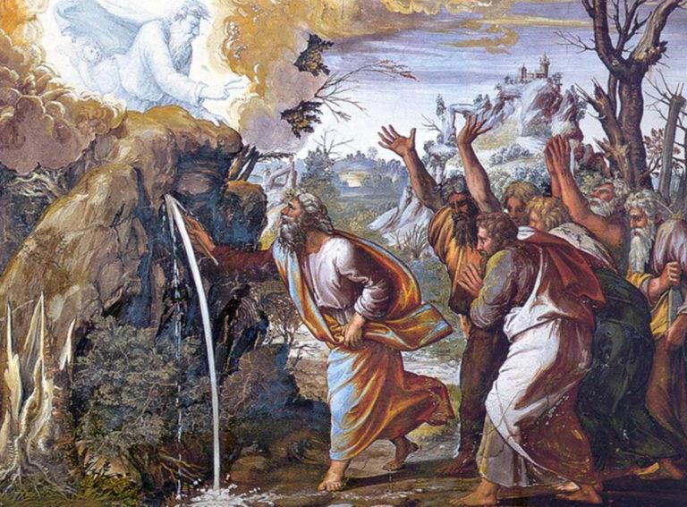 Моисей, иссекающий воду из скалы. 1519