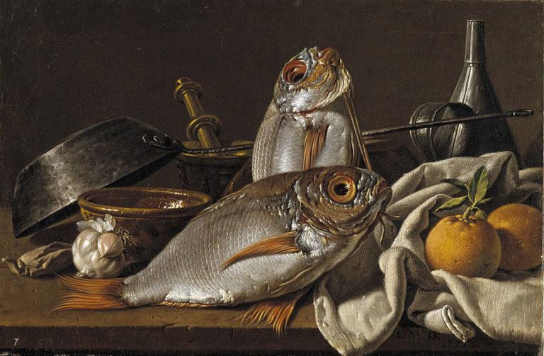 Натюрморт с морскими лещами, апельсинами, чесноком, приправами и кухонной утварью. 1772
