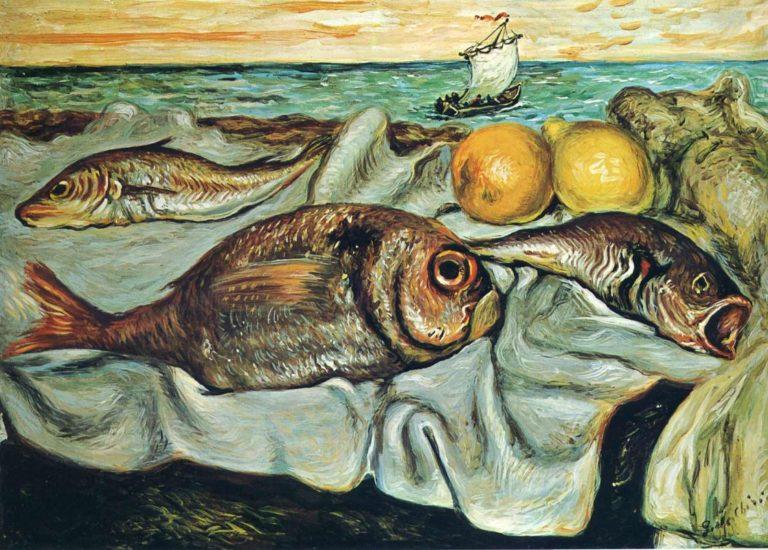 Натюрморт с рыбой и лимоном