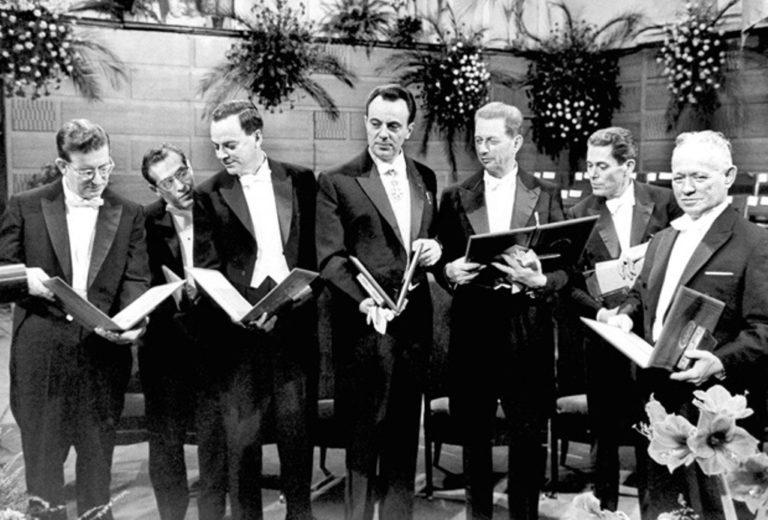 Нобелевские лауреаты. Крайний справа – Михаил Шолохов. 1965