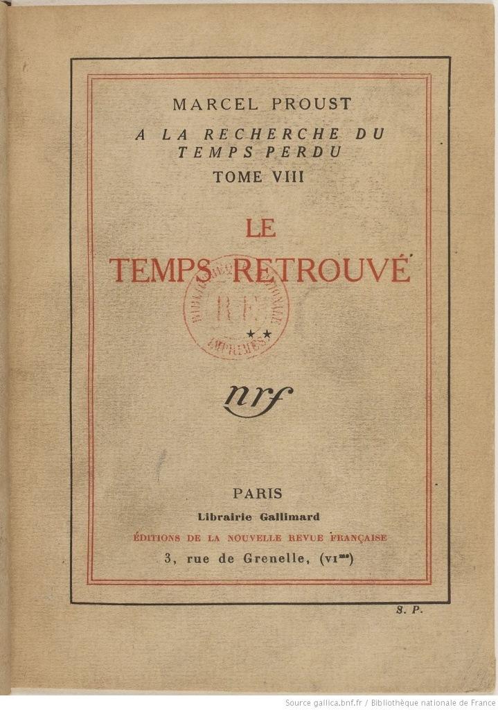 Обложка романа М. Пруста «Обретенное время». 1927