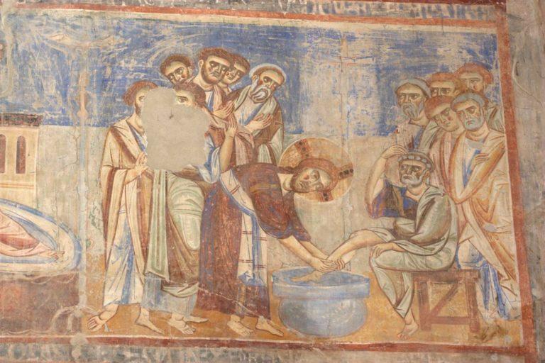 Христос омывает ноги ученикам. XI в.