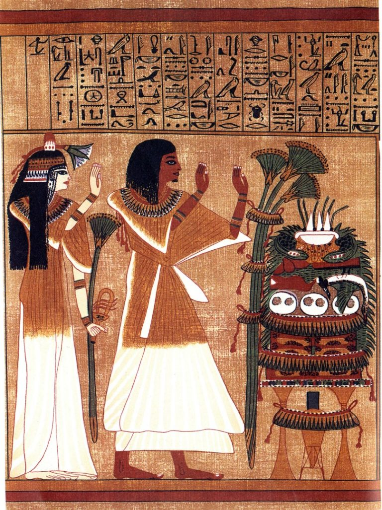Писец Ани и его жена Туту перед дарами. XIX династия Нового царства, ок. 1250 г. до н.э.