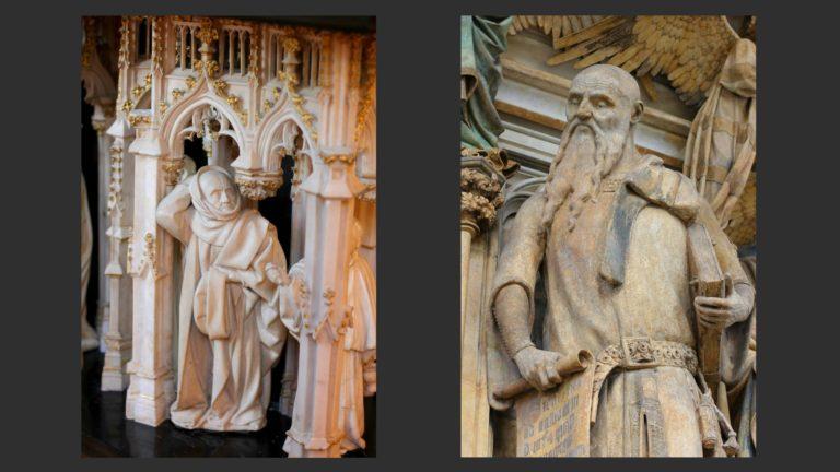 Слева: Плакальщик. Гробница Карла Смелого. 1410. Справа: Фигура пророка. «Колодезь Моисея». Ок. 1400. Скульптор – Клаус Слютер (нидерл. Claus Sluter, 1350–1406)