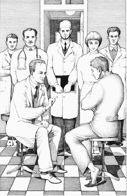 Поединок между профессором и поэтом. Иллюстрация к роману «Мастер и Маргарита». 2006