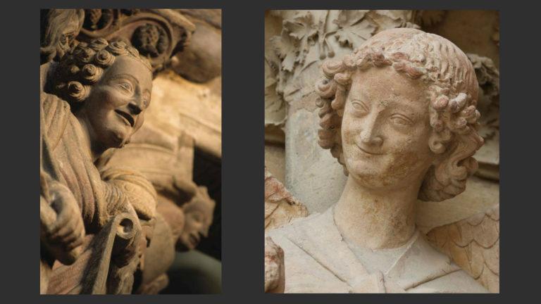 Слева: Пророк Даниил. 1188. Портик славы Сантьяго-де-Компостела. Справа: Ангел из «Благовещения». Западный портал Реймсского собора