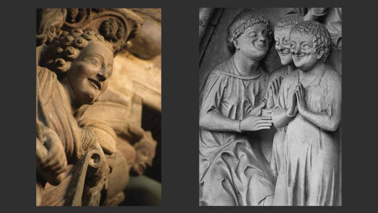 Слева: Пророк Даниил. 1188. Портик славы Сантьяго-де-Компостела. Справа: «Страшный суд». Ок. 1225. Тимпан собора в Бамберге