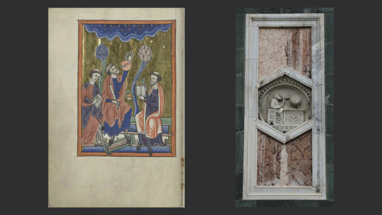 Слева: Псалтирь Бланки Кастильской и Людовика IX. XIII в. Библиотека Арсенала, Париж. Справа: Астроном. Сер. XIV в. Колокольня собора Санта-Мария-дель-Фьоре, Флоренция