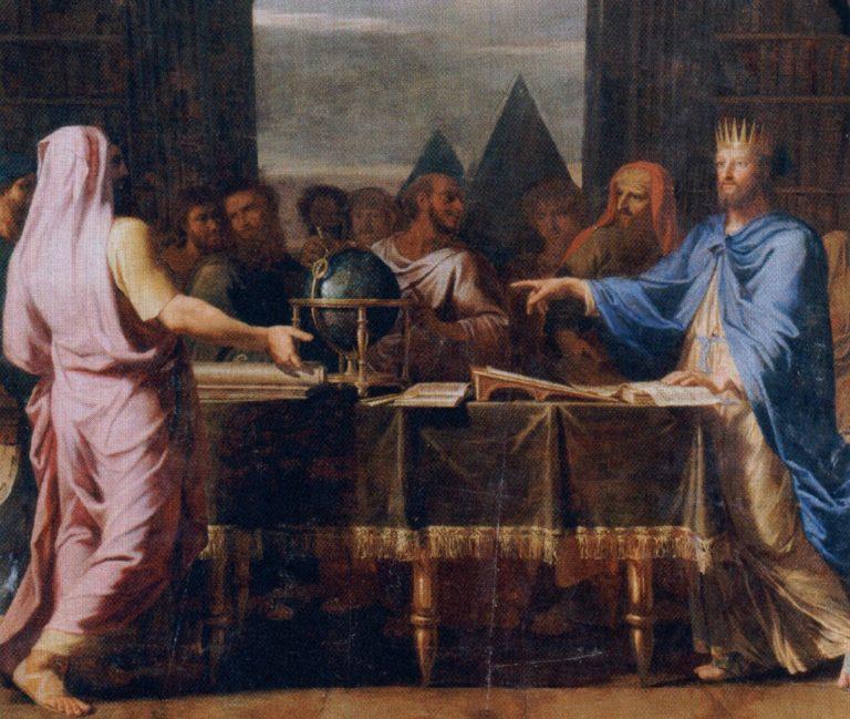 Птолемей II Филадельф разговаривает со старцами, призванными в Александрийскую библиотеку для перевода Библии. 1672