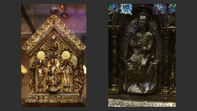 Слева: Реликварий Карла Великого. Справа: Фридрих II Штауфен, принесший крестоносный обет. 1200-1215