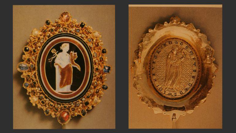 Шаффхаузенский оникс. Камея – I в. н.э., золотая оправа – ок. 1230 г.