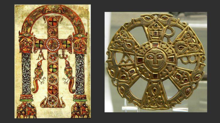 Слева: «Сакраментарий Геласия». Ок. 750. Ватиканская апостолическая библиотека. Справа: Меровингская фибула. Ок. VI–VII вв. Национальная библиотека Франции, Париж