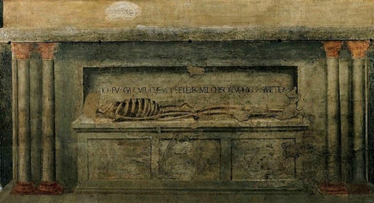 Саркофаг со скелетом. Фрагмент фрески «Св. Троица». 1425–1427