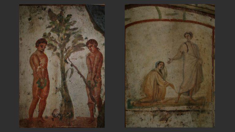 Слева: Адам и Ева. Справа: Исцеление кровоточивой. Конец III в. Катакомбы свв. Петра и Марцеллина, Рим