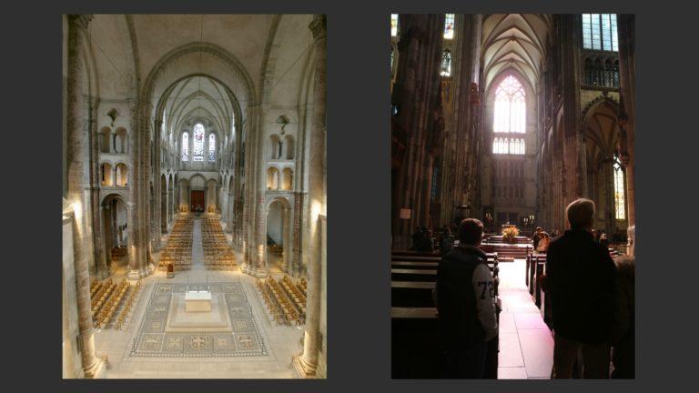 Слева: Гросс-Санкт-Мартин. XII-XIII вв. Справа: Кёльн. Хор Кёльнского собора. После 1248