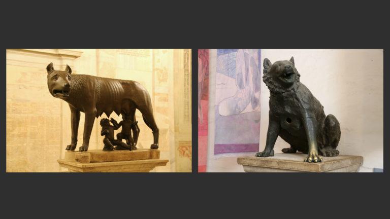 Слева: Капитолийская волчица. VIII–IX вв., младенцы – XVI в. Бронза. Капитолийские музеи, Рим. Справа: Аахенская волчица. Ок. 800. Капелла Карла Великого, Аахен