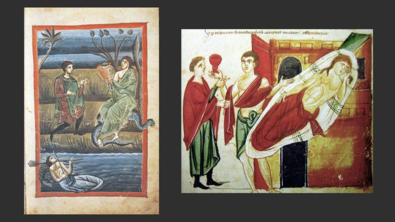 Слева: Моление Земле. Справа: врачебный консилиум у постели больной женщины. XIII в.