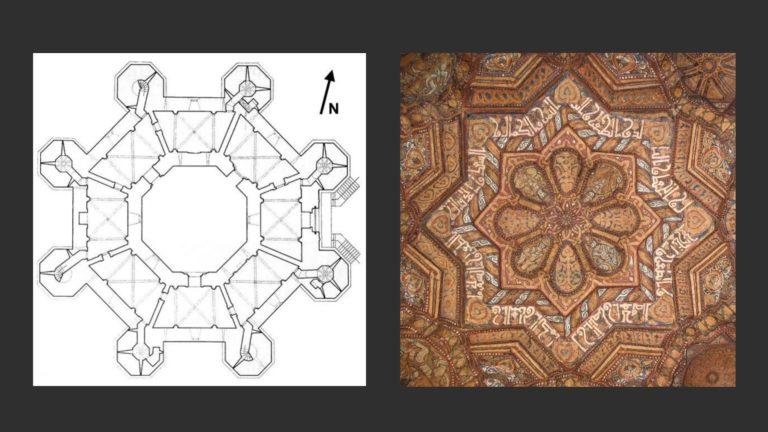 Слева: План Кастель дель Монте. XIII в. Апулия. Справа: Мотив мандалы в резном потолке Дворцовой капеллы. XII в.