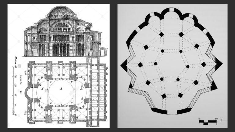 Слева: План Софийского собора. 530-е. Константинополь. Справа: План храма князя лонгобардов Арехиса. 760-е гг. Беневенто
