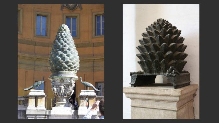 Слева: Шишка. II в. н.э. Дворик Ватиканских музеев. Справа: Шишка в Аахенской капелле. Ок. 800 г.