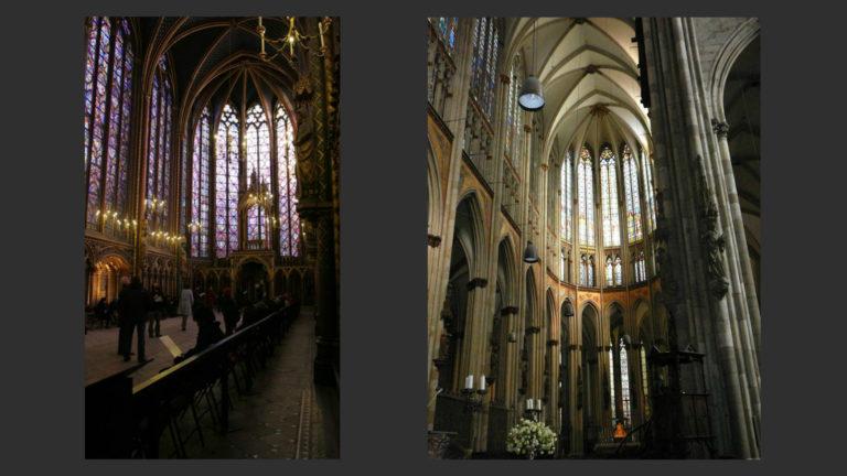 Слева: Сент-Шапель. 1240-е. Париж. Справа: Хор Кёльнского собора. После 1248