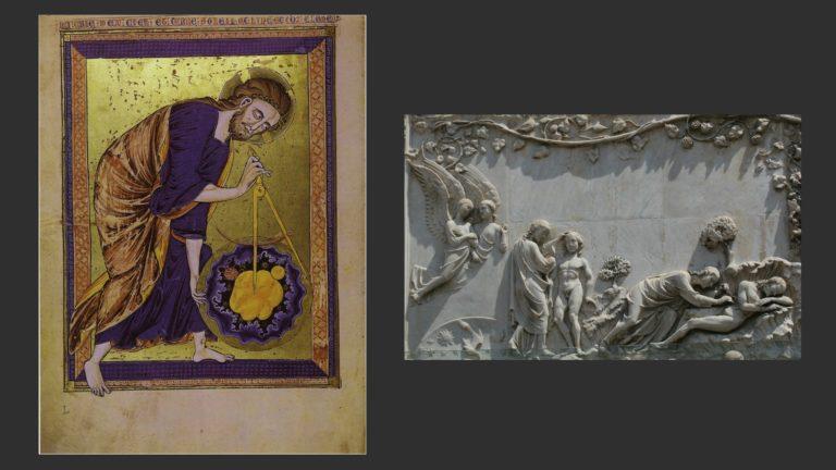 Слева: Сотворение мира. Ок. 1210 г. Морализованная библия. Австрийская национальная библиотека, Вена. Справа: Сотворение Адама и Евы. 1300–1320 гг. Рельеф. Собор в Орвието, Умбрия