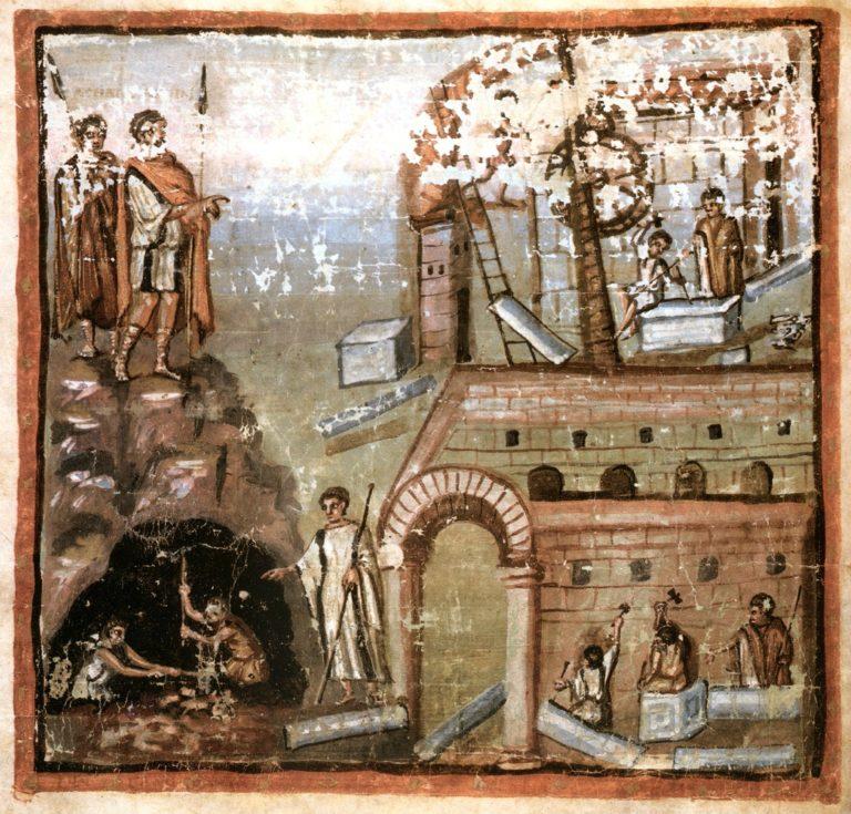 Строительство города. Сцена из первой книги «Энеиды». Ок. 400 г.