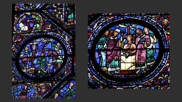 Сцена на охоте. Явление Распятия в рогах оленя. Крещение Евстафия Плакиды. Ок. 1200