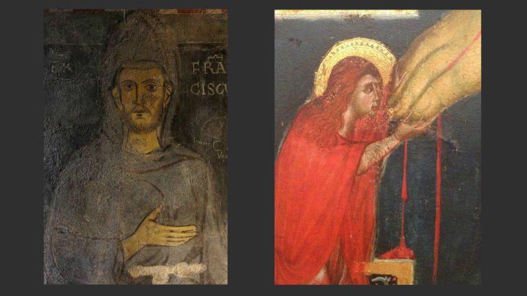 Слева: Св. Франциск. Ок. 1225 г. Фрагмент фрески. Монастырь св. Бенедикта в Субиако, Лацио. Справа: Св. Магдалина у распятия. 1285-1295. Фрагмент иконы. Галерея Академии, Флоренция