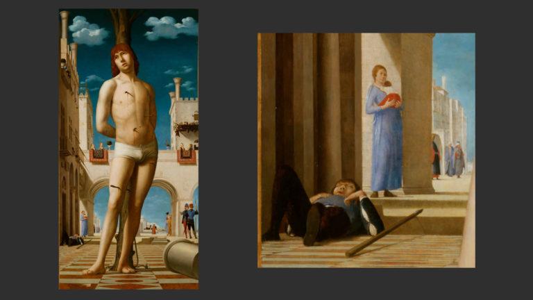 Святой Себастьян. Общий вид и фрагмент уличной сцены. Ок. 1478