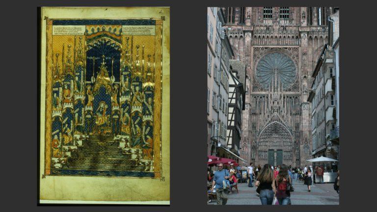 Слева: Трон Премудрости. Кон. XIII в. «Сад утешения» Национальная библиотека Франции, Париж. Справа: Центральный портал Страсбургского собора. XIII–XV вв. Франция