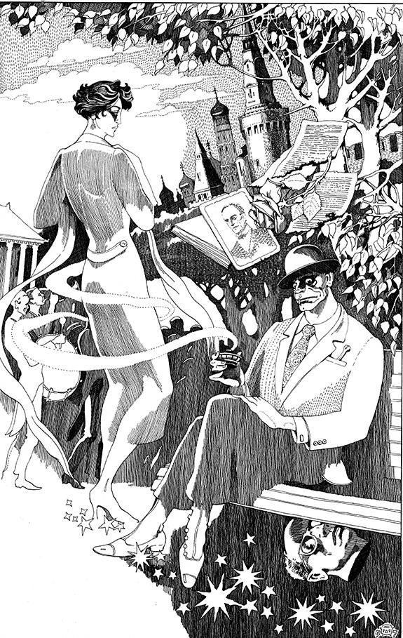 Встреча Маргариты и Азазелло. Иллюстрация к роману «Мастер и Маргарита». 1997