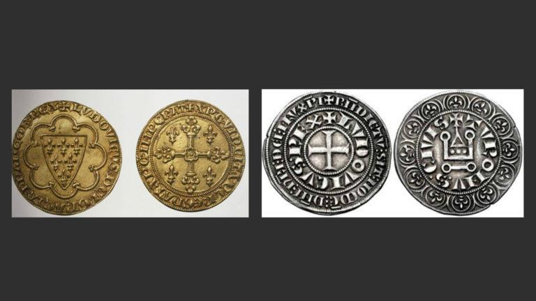 Слева: Золотой экю. «Людовик, Божией милостью король франков».  Справа: Турский серебряный гро. «Король Людовик». 1266 г.