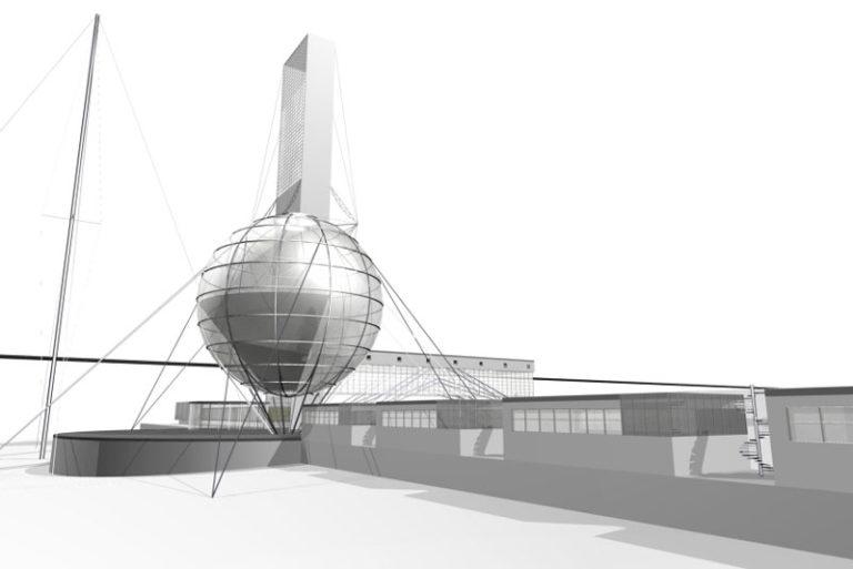 3D-модель проекта Ивана Леонидова «Институт библиотековедения им. В.И. Ленина на Ленинских горах»