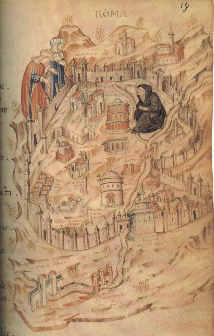 Аллегорическое изображение Рима в виде вдовы в трауре Авиньонского пленения пап. XIV в.