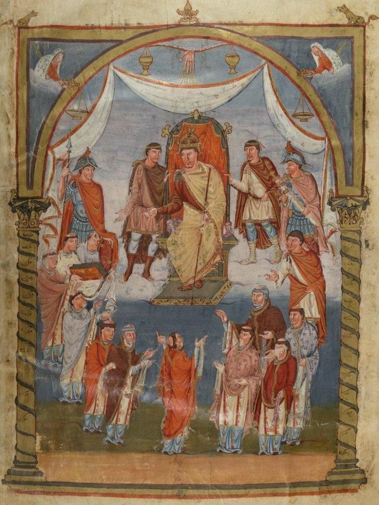 Братия аббатства св. Мартина преподносит Библию королю Карлу. Ок. 845 г.