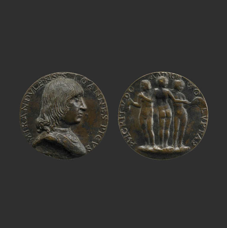 Бронзовая медаль с изображением Пико делла Мирандолы и «Тремя грациями». Ок. 1495