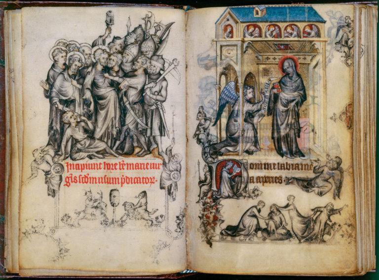 Часослов Жанны д'Эврё. Слева вверху: Взятие Христа под стражу. Справа вверху: Благовещение. 1324-1328