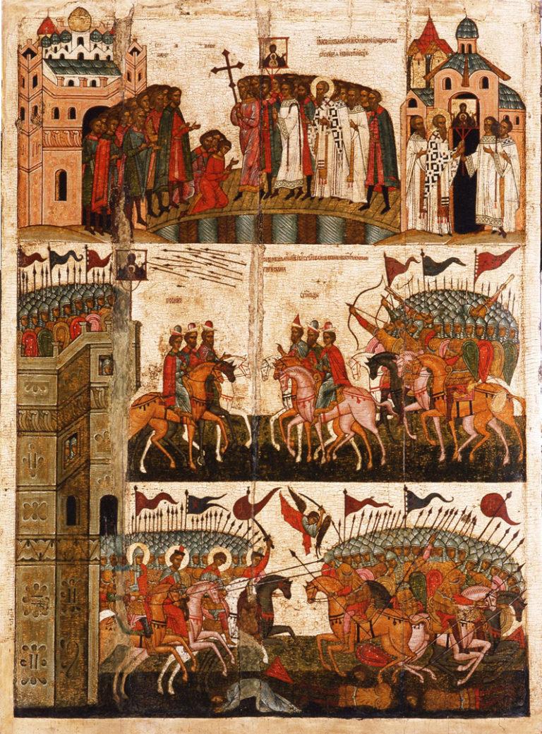 Чудо от иконы «Богоматерь Знамение» (Битва новгородцев с суздальцами в 1170 г.). 2 пол. XV в.